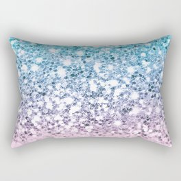 Sparkly Unicorn Blue Lilac & Pink Ombre Rectangular Pillow