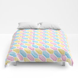 Yellow, Pink and Blue Doodle Gems Pattern Comforters