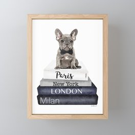 Fashion, French bulldog, frenchie, fashion books, watercolor, grey, black and white Framed Mini Art Print