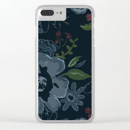 Moody Blues Floral Pattern Clear iPhone Case