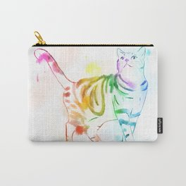 Rainbow Painted Cat Carry-All Pouch