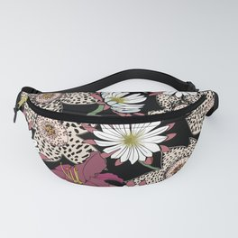Lilies, spotted stapelia flowers and cactus flowers. Exotic Botanical Fanny Pack