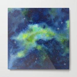 Blue and Green Night Sky Watercolor Metal Print