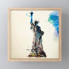 Vintage Liberty New York City Travel Love Watercolor Framed Mini Art Print