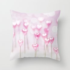 Pretty Pink Hearts Throw Pillow