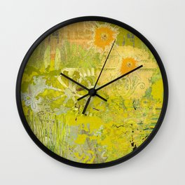Olive Green Abstract Digital Art Collage Wall Clock