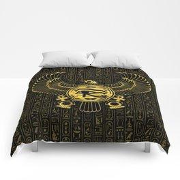 Egyptian Eye of Horus - Wadjet Gold and Black Comforters