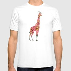 Pink Giraffe SMALL Mens Fitted Tee White