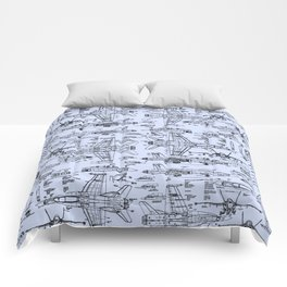 F-18 Blueprints // Light Blue Comforters