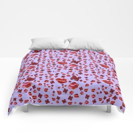 Red and purple Poppies Comforters