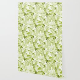 Butterflies And Flowers Green Illustration On White #decor #society6 #buyart Wallpaper