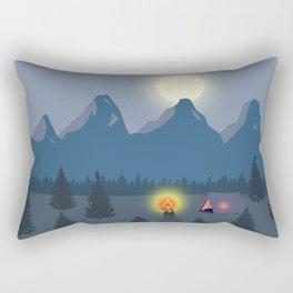 Bonfire camping in the mountains Rectangular Pillow