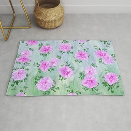 Pink Petunas over Blue Sky Rug