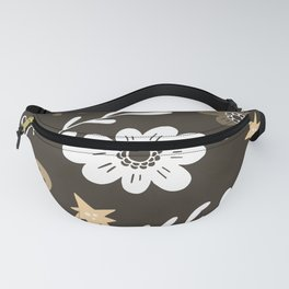 Dark Brown Pattern with White Flowers and light brown butterflies Fanny Pack