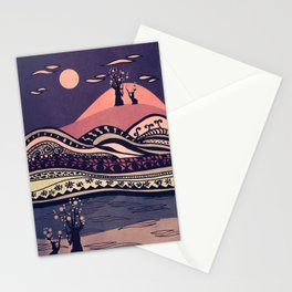 Psychedelic mountains (colour option) Stationery Cards