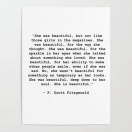 She was beautiful -F Scott Fitzgerald Poster