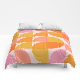 Mid Century Mod Geometry in Pink and Orange Comforters
