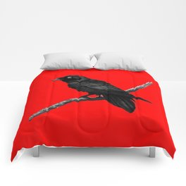 Decorative Chinese Red Black Crow Design Comforters