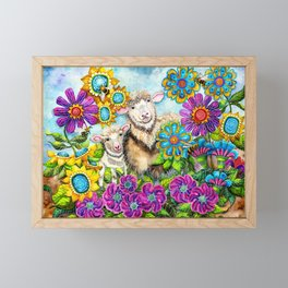 Sheep in the Summer Garden Framed Mini Art Print