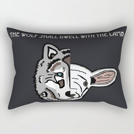 The Wolf Shall Dwell With the Lamb; Rectangular Pillow