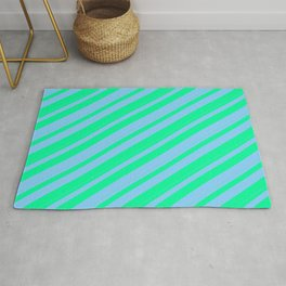 Green and Light Sky Blue Colored Lined/Striped Pattern Rug