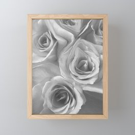 Roses in Black and White Framed Mini Art Print