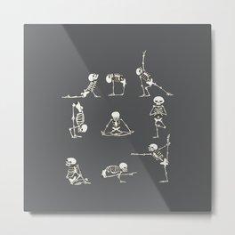 Skeleton Yoga_Gray Metal Print