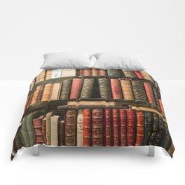 Vintage Books in Paris Comforters