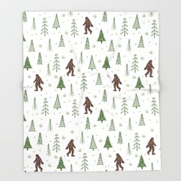 trees + yeti pattern in color Throw Blanket