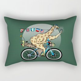 Giraffe riding a mountainbike Rectangular Pillow