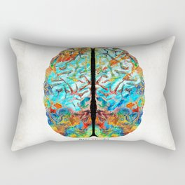 Colorful Brain Art - Just Think - By Sharon Cummings Rectangular Pillow
