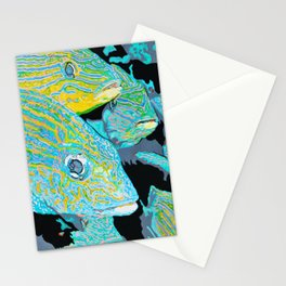 School Of Fish Acrylic Painting Stationery Cards