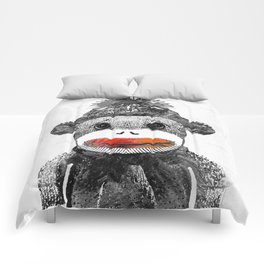 Sock Monkey Art In Black White And Red - By Sharon Cummings Comforters