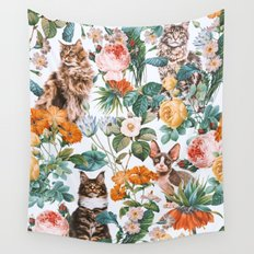 Cat and Floral Pattern III Wall Tapestry