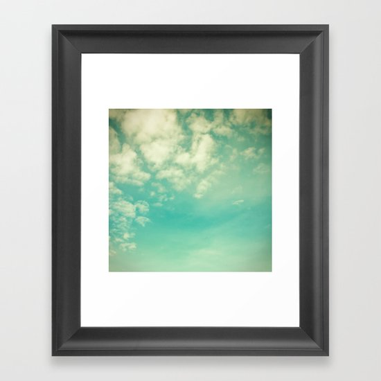 Retro Vintage Blue Turquoise Fall Sky and Clouds Framed Art Print