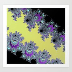 Asymmetrical Fractal in Yellow, Black and Purple Art Print