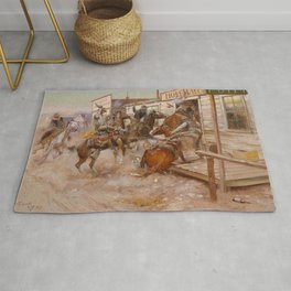 """In Without Knocking"" by Charles M Russell Rug"