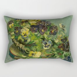 "Vincent van Gogh ""Basket of Pansies"" Rectangular Pillow"