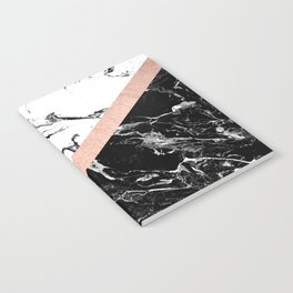 Modern black white marble color block rose gold Notebook
