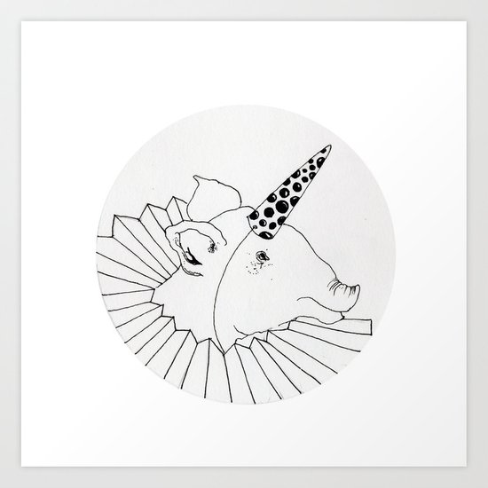 unicorn pig Art Print