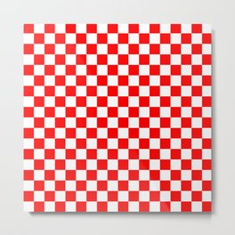 Jumbo Australian Racing Flag Red and White Checked Checkerboard Pattern Metal Print