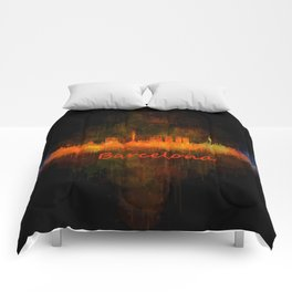 Barcelona City Skyline Hq _v4 Comforters