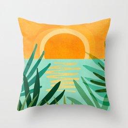 Peaceful Tropics / Sunset Landscape Throw Pillow