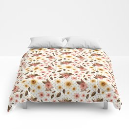 Beautiful Australian Native Flowers on Gold Polka Dots Comforters