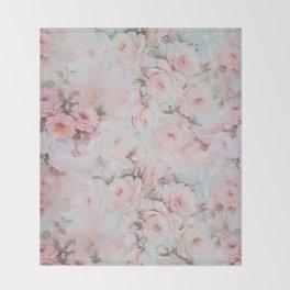 Vintage romantic blush pink teal bohemian roses floral Throw Blanket