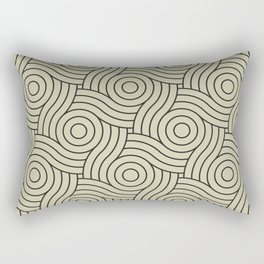 Circle Swirl Pattern Muted Green Inspired By Natural Olive Green - Martinique Dawn - Asian Silk Rectangular Pillow