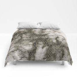 Gray Marble Pattern Black And Silver Vined Comforters
