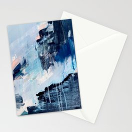Vibes: an abstract mixed media piece in blues and pinks by Alyssa Hamilton Art Stationery Cards