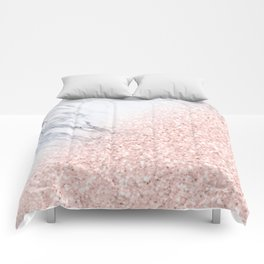 She Sparkles Rose Gold Pink Marble Luxe Geometric Comforters