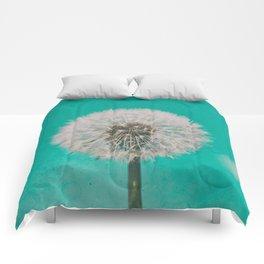 Green Blue Dandelion Comforters